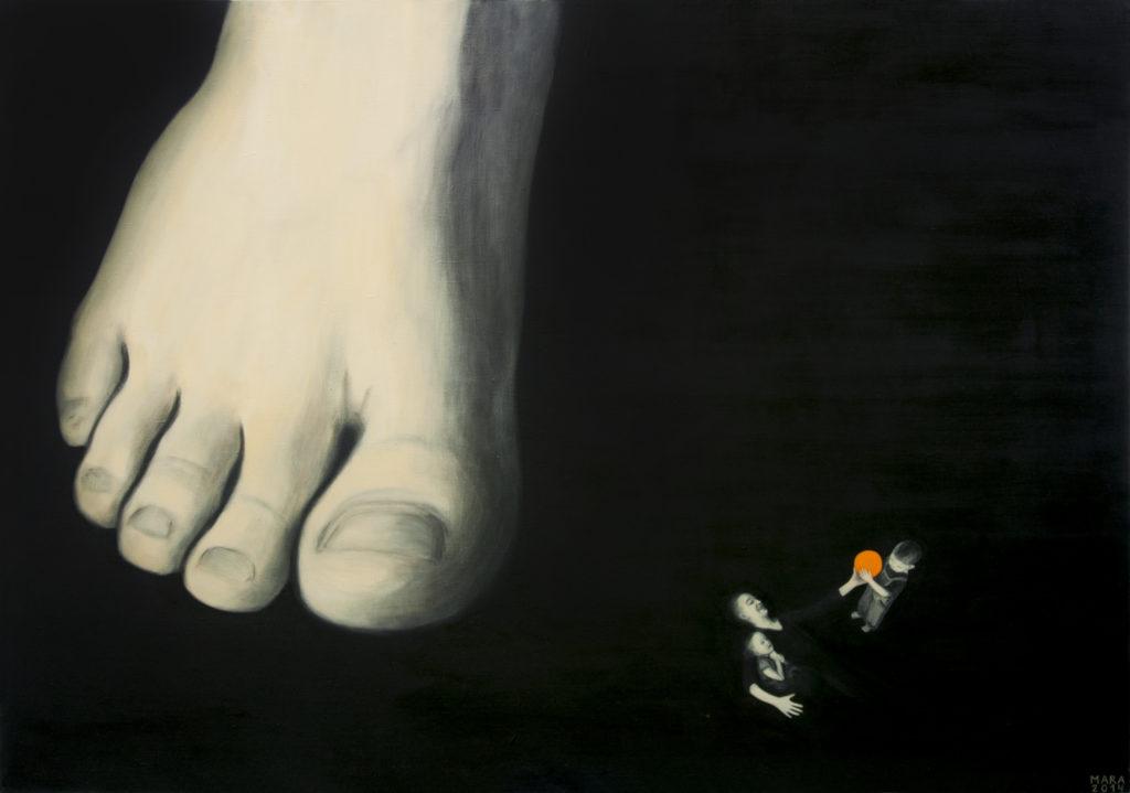Kahevahel. 2014. Õli lõuendil. / Between the two. Oil on canvas, 195 x 137 cm