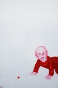 Miks? 2008. Aakrüül lõuendil. Erakogus. / Why? Acrylic on canvas, 140 x 80 cm. In privat collection