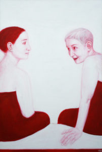 Dialoog. 2008. Akrüül lõuendil. / Dialoge, acrylic on canvas, 140 x 80 cm