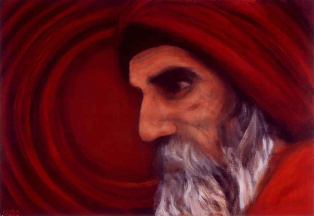 Väsinud müstik. 2006. Õli lõuendil. Erakogus. / Tired mystic. Oil on canvas, 87 x 60 cm. In privat collection