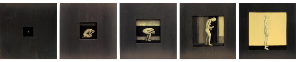 Tervenemine I–V. 2002. Akrüül alusel. / Mental recovery I–V. Acrylic on cardboard