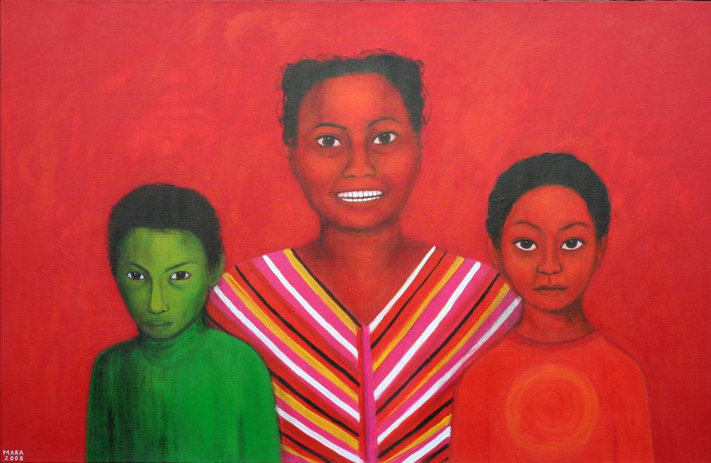 Perekond. 2008. Akrüül lõuendil. Erakogus. / Family. Acrylic on canvas, 140 x 80 cm. In privat collection