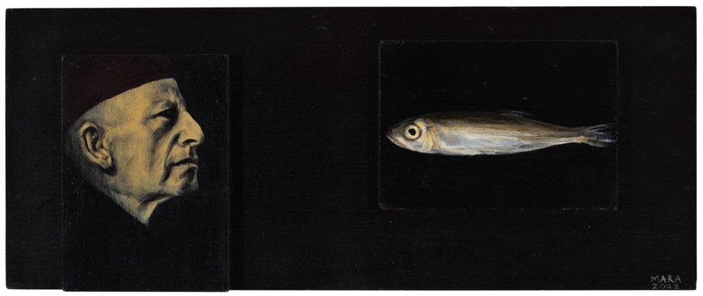 Mees ja tema igavene kala. 2002. Akrüül alusel. Erakogus. / Man and his eternal fish. Acrylic on cardboard, 42 x 16 cm. Privat collection.