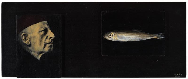 Mees ja tema igavene kala. 2002. Akrüül alusel. / Man and his eternal fish. Acrylic on cardboard, 42 x 16 cm