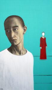 Reedetud,2008, akrüül lõuendil, 120 x 60 cm